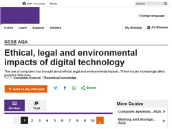 Ethical, legal and environmental impacts of digital technology