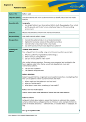 Explore 1 Pattern walk: teacher's notes