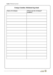 Explore 1 Minibeast hunt: Minibeast log sheet