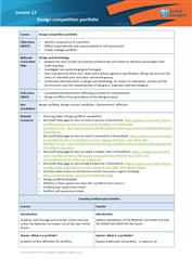 Lesson 12 Design competition portfolio: teacher's notes