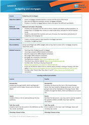Lesson 8 Budgeting and mortgages: teacher's notes