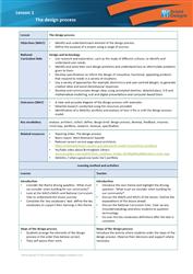 Lesson 1 The design process: teacher's notes