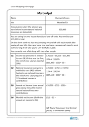 Lesson 8 Budgeting and mortgages: my budget worksheet (developing)