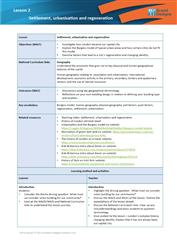 Lesson 2 Settlement, urbanisation and regeneration: teacher's notes