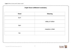 Explore 3 Anglo-Saxon settlement vocabulary