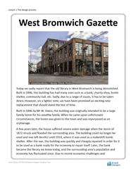 Lesson 1 News report: West Bromwich Gazette