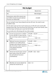 Lesson 8 Budgeting and mortgages: my budget worksheet (proficient)